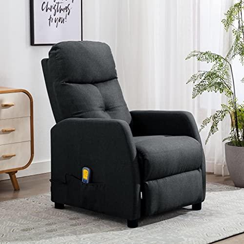 vidaXL Fauteuil Inclinable de Massage TV Chaise Fauteuil de Relaxation Electrique Salon Maison Repose-Pied et Appui-tête Réglables Gris Foncé Tissu