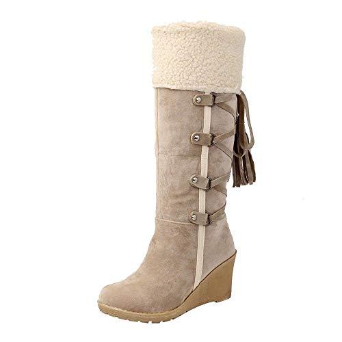 Logobeing Botines Mujer Planos Tacon Zapatos de Mujer Después de Lijar con Borlas Botas Altas Mangas Cuñas Botas de Nieve Zapatos de Plataforma(38,Beige)