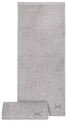 Sansibar Badetuch 2er Set 90x180 cm 100% Baumwolle mit gesticktem Säbel Logo Strandtuch Saunatuch Silber