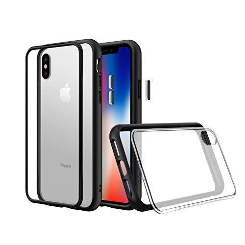RhinoShield Coque Compatible avec [iPhone X] | Mod NX - Protection Fine Personnalisable avec Technologie Absorption des Chocs [sans BPA] + [Programme de Remplacement] - Noir