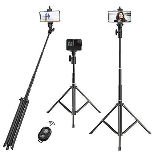 """Selfie Stick Tripod,52""""Portable Extendable Tripod Stand with Wireless Remote & Phone Mount, Compatible with Most Smart Phones"""
