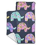 Cavdwa Colchoneta de Franela Suave y cálida para bebé con colchoneta para Dormir, Manta, Almohada, 43 x 21 Pulgadas, Elefantes de Colores con Diferentes Patrones