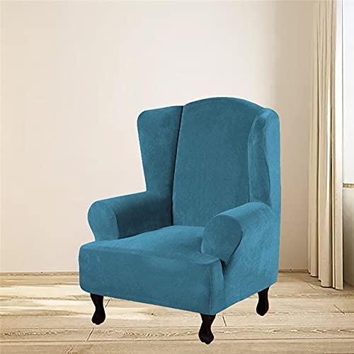 YNYEZBH Sillón de ala elástico Funda de Terciopelo con Respaldo de ala de Felpa Funda de sofá Funda de sofá de Felpa elástica Lavable extraíble Protector de Muebles marrón