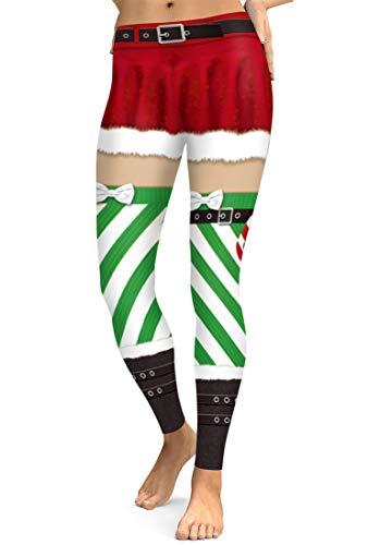 URVIP Damen Hässlich Weihnachten Leggings Hohe Taillen Lustig Weihnachtskostüme Winter Leggings Elastische Super Weich Knöchellänge BFY-020 M