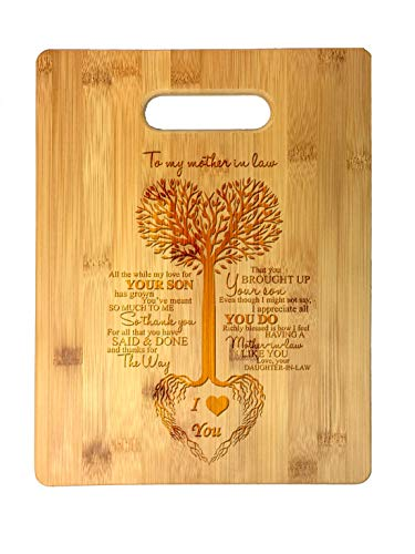 To My Mother in Law Tree Heart Sweet Sayings Birthday, Mother's Day, Laser Engraved Bamboo Cutting Board - Wedding, Housewarming, Anniversary, Birthday, Father's Day, Gift For Him, For Her, For Boys