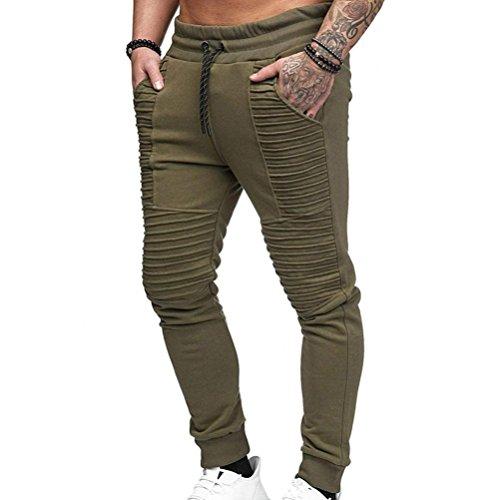 Paolian Pantalon de Sport plissé Solide pour Hommes Mode, Grandes Poches latérales, Pantalon de Course à Cordon Coulissant Doux et Confortable (M, Vert)