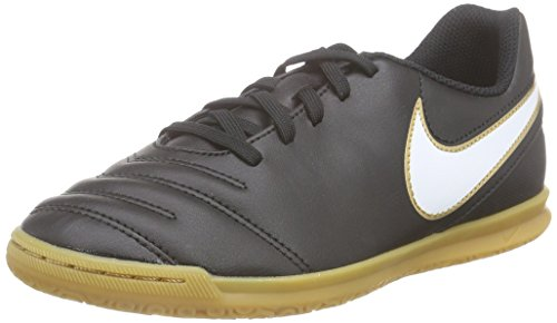 Nike Unisex-Kinder Tiempo Rio III IC Fußballschuhe, Schwarz (Black/White-Metallic Gold 010), 38 EU