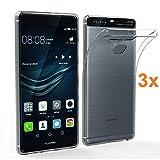 REY 3X Funda Carcasa Gel Transparente para Huawei P9 Plus, Ultra Fina 0,33mm, Silicona TPU de Alta Resistencia y Flexibilidad