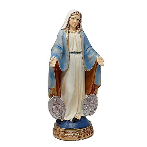 Inmaculada Romero IR Figura Virgen Milagrosa Medallas Adorno 20Cm. Resina Peana Decoración