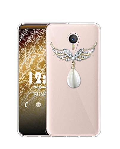 Sunrive Kompatibel mit Meizu M3 Note Hülle Silikon, Glitzer Diamant Strass Transparent Handyhülle Schutzhülle 3D Etui handycase Hülle (Flügel Edelstein) MEHRWEG