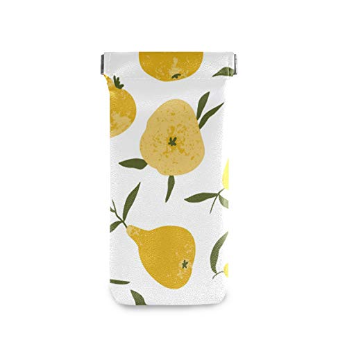 ATONO Tropical Summer Fruit Yellow Pear Hand Drawn Style Eyeglass Cases Sunglasses Bag Pouch Eyeglasses Goggles Case Holders Portable PU Leather Phone Sleeves for Girls Ladies Womens