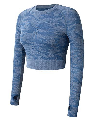 SHAPERIN Mallas deportivas de compresión para mujer, push up, anticelulitis, cintura alta, para yoga, opacas, en negro, gris, rosa, lila #5 Blue-crop Tops M