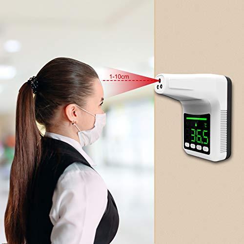 termoscanner usb Termometro a infrarossi montato a parete,termoscanner certificato,Termometro digitale frontale senza contatto con schermo LCD di allarme per uffici