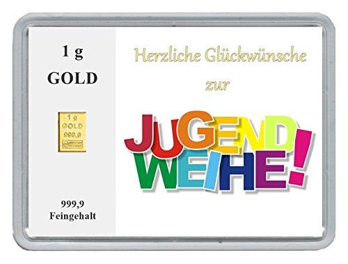 1g Goldbarren 999,9 Feingold in Motivbox