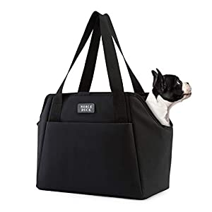 NOBLE DUCK Small Dog Carrier Purse with Pockets, Portable Small Dog/Cat Soft-Sided Carrier with Adjustable Safety Tether, Versatile Pet Carrier Tote for Subway/Shopping/Hiking/Traveling (Black)
