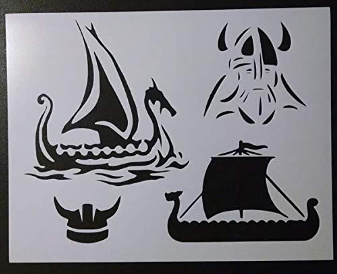 Custom Stencil Viking Vikings Ship Boat Head Helmet 11 x 8.5 h0957102373