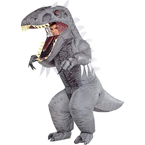 Party City Inflatable Indominus Rex Halloween Costume for Adults, Jurassic World, Standard Size, Battery Operated Fan