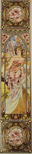 Morning Awakening Tile Panel Mucha Damen Dekorative 5Fliesen Panel Hand Made in UK