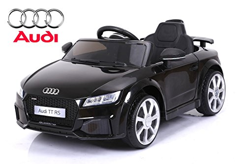 ES-TOYS Kinderfahrzeug - Elektro Auto Audi TTRS - lizenziert - 12V7AH Akku und 2 Motoren- Ferngesteuert +MP3 (Schwarz)