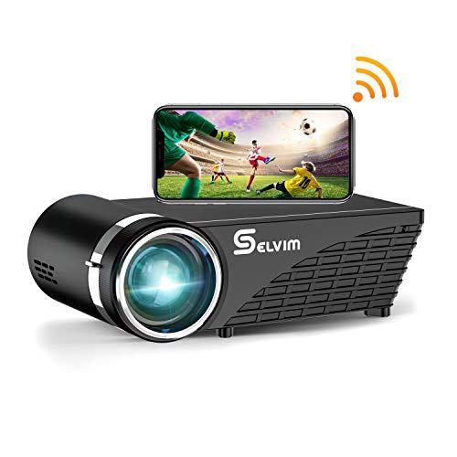 Selvim Proyector WiFi Bluetooth Portátil, Mini proyector para Móvil Soporta Full HD 1080P, 60000 Horas Vida Útil de Lámpara, Compatible con TV Stick HDMI VGA USB AV para Cine en Casa Películas