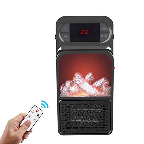 DGYAXIN Calentador de Estufa eléctrico de tamaño pequeño montado en la Pared, Fuego eléctrico portátil con Control Remoto, luz LED de leña, para Oficina en casa