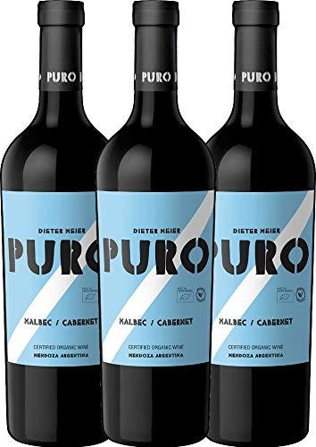 VINELLO 3er Weinpaket Rotwein - Puro Malbec Cabernet 2019 - Dieter Meier mit Weinausgießer | trockener Rotwein | argentinischer Biowein aus Mendoza | 3 x 0,75 Liter