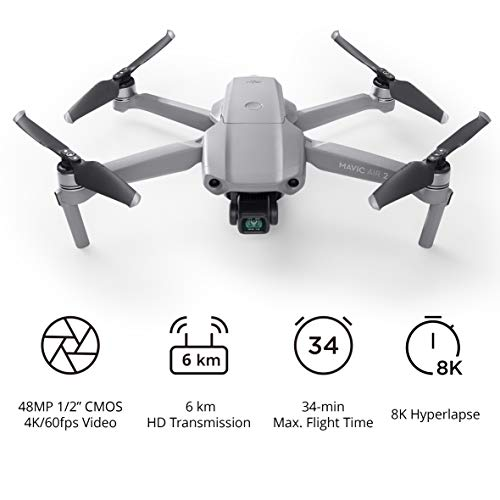 DJI Mavic Air 2 - Drohne Quadcopter UAV mit 48 MP Kamera, 4 K Video, 1/2 Zoll CMOS-Sensor, 3-Achsen-Gimbal 34 min Flugzeit ActiveTrack 3.0 - Grau