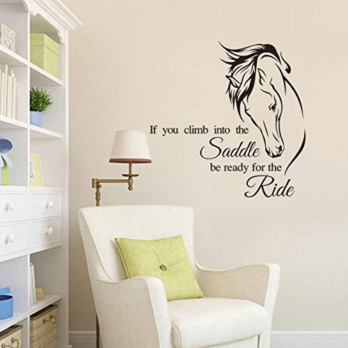 TAOYUE 1pcs DIY Horse Riding Wandtattoo Zitat Vinyl Art Wenn Sie in den Sattel klettern Seien Sie bereit für die Ride Horse Decor Wandaufkleber