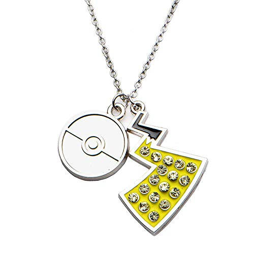 Pokemon Collar de acero inoxidable con colgante de bola de poke y cola de pikachu con gemas transparentes