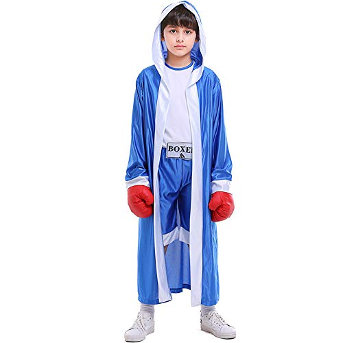 Kids Boys Boxing Costume Red Blue Boxer Cosplay with Boxing Gloves Robe Halloween Party Dress Decoration Role Playing Uniform Carnival (Blue, M)