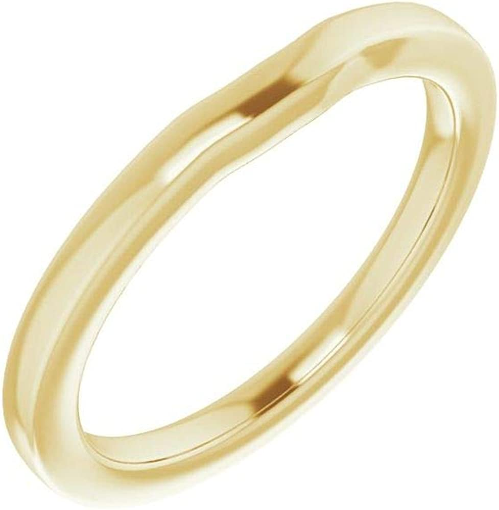 Solid 18K Yellow Gold Curved Notched Wedding Band for 6mm Asscher Ring Guard Enhancer - Size 11