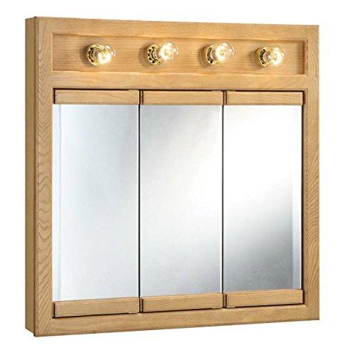Design House 530600 Richland Lighted Mirrored Medicine Cabinet, Nutmeg Oak, 30'