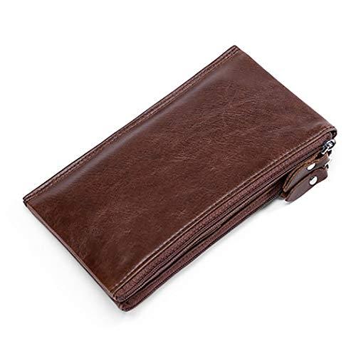 COSYOO Mens Card Wallet Zipper Fashion de Cuero Genuino Clutch Purse de Gran Capacidad Tarjetero Billetera Tarjeta de Crédito Billetera con Correa para La Muñeca