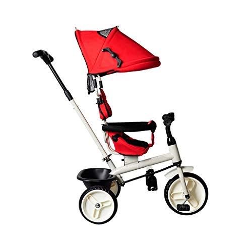 GYF Triciclo, multifunción 4-en-1 Triciclo Sin Asiento Giratorio, Triciclo del bebé al Aire Libre, 2 Colores, 94x92x57cm (Color : Red)