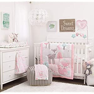 NoJo Sweet Forest Friends – Pink, Aqua, Grey & White 4Piece Nursery Crib Bedding Set – Comforter, Fitted Crib Sheet, Dust Ruffle, Diaper Stacker, Pink, Aqua, Grey, White