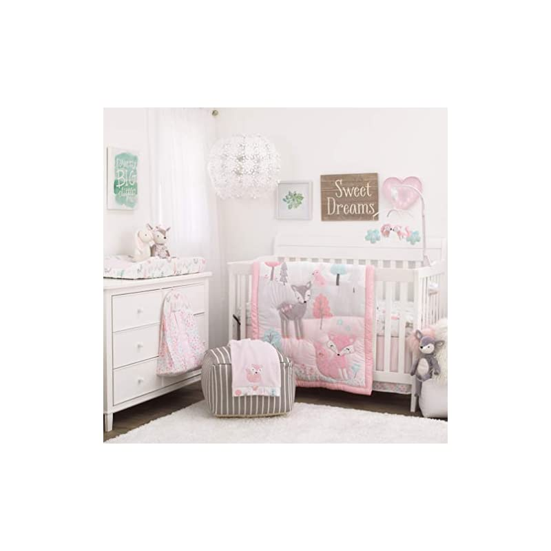 crib bedding and baby bedding nojo sweet forest friends - pink, aqua, grey & white 4piece nursery crib bedding set - comforter, fitted crib sheet, dust ruffle, diaper stacker, pink, aqua, grey, white