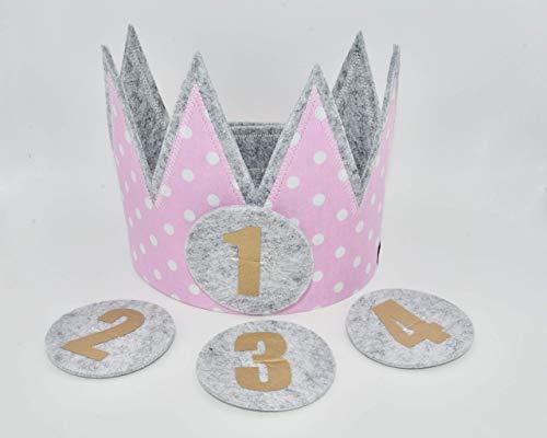 Corona de cumpleaños Der Wollprinz, corona para bebe y niño de fieltro y tela rosa y lunares blancos con los números 1,2,3, 4
