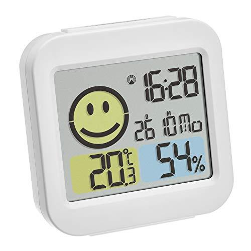 TFA Dostmann Digitaler Funk-Wecker mit Thermo-Hygrometer, Kunststoff, weiß, L90 x B50 x H135 mm