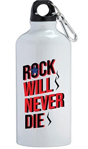 Rock Will Never Die Music Borraccia in acciaio inox per allenamento all'aperto, ciclismo, campeggio, a tenuta stagna, 400 ml, colore: bianco