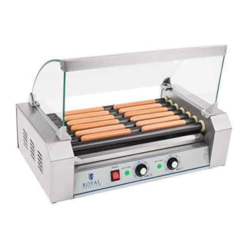 Royal Catering Grill Saucisses Hot-dog RCHG-7T (nombre max. de saucisses 12, 1.400W, revêtement des rouleaux téflon, 33x58,5x40,5cm, 2 zones chauffantes distinctes)