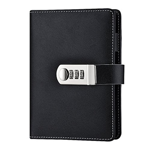 Refillable Lock Diary A6 Binder Journal Loose Leaf Spiral Password...