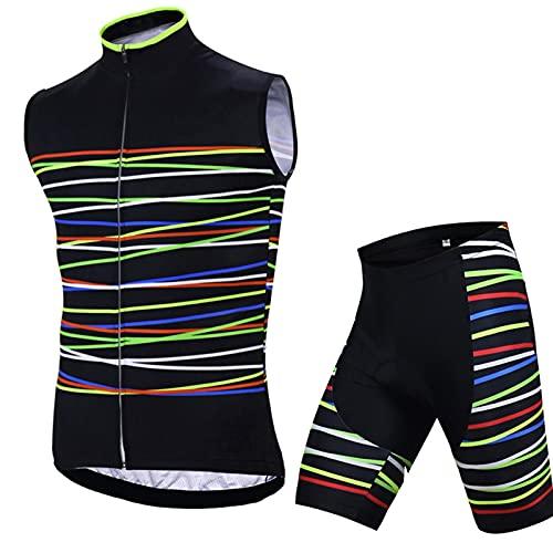 Conjunto de Maillot de Ciclismo para Mujer,  Camisetas de Bicicleta de Carretera Transpirables Sin Mangas MTB y Pantalones Cortos Acolchados 3D Pantalones Acolchados de Secado Rápido