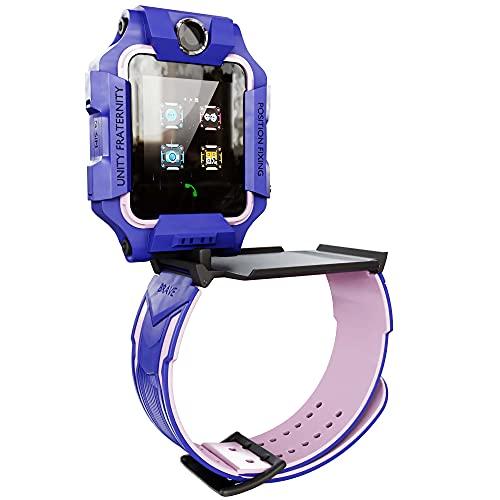 Reloj Inteligente Niño Niña, Smartwatch Anti-Perdida, Pulsera Móvil 360°, Llamada Emergencia SOS, Cámara Dual, Ubicación LBS, IP67, Android iOS. (Morado)