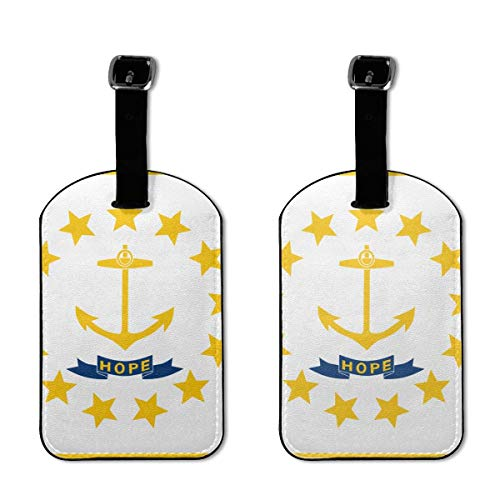Rhode Island Flag Lage Tags Labels with Privacy Cover for Cruise Ships,for Travel Bag Suitcase
