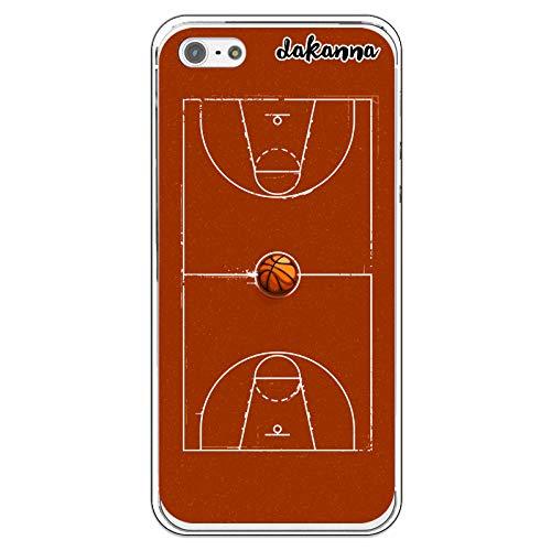 dakanna Funda para iPhone 5-5S - SE | Campo y balón de Baloncesto | Carcasa de Gel Silicona Flexible Transparente