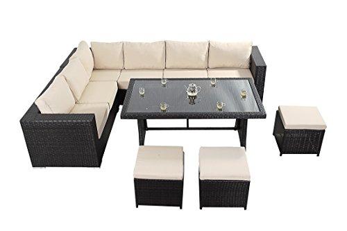 Oeste de sofá de la esquina - se compone de un sofá de la esquina hecho de tres grandes de Modular sofás dos asientos, una mesa de comedor tapa de cristal y tres escabeles de mimbre muebles de jardín