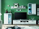 Homely - Mueble de salón Modular EsCanar hormigón y Blanco de 245 cm