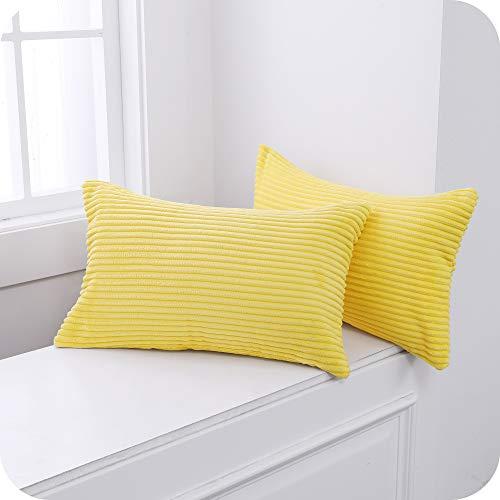 UMI. by Amazon Fundas para Cojin Decorativas Cuadrado Suave 2 Piezas 30x50cm Amarillo