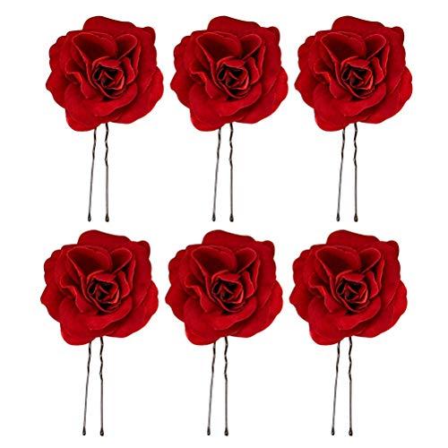 Beaupretty 6 stücke Hochzeit Hochsteckfrisur Haarnadeln Rote Rose Blume Haar Klebt Uförmige Haar Essstäbchen für Braut Brautjungfer
