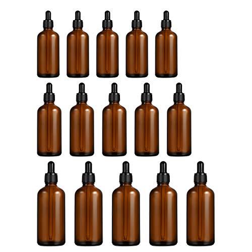 iplusmile Bouteille en verre ambré de 15 pièces avec flacon compte-gouttes rechargeable pour les huiles essentielles Parfum Aromathérapie Chimie Lab Chemicals (10 Ml + 20 Ml + 50 Ml)